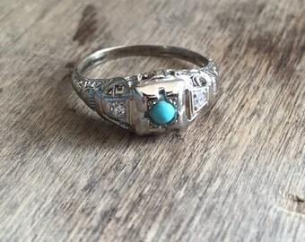 White Gold Turquoise diamond ring