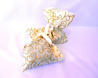 Fabric gift bags, handmade gift bags, cream gift bags, bridesmaid gift bags, goodie bags, set of two bags