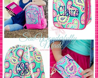 Monogrammed Backpack - Lunch Box - Wristlet - Gym Bag - Personalized - Back To School - Paisley - Girls Backpack - Embroidered - School