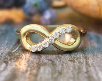 Diamond Infinity <Pave> Solid 14K Yellow Gold (14KW) Eternal Love Ring *Fine Jewelry* (Free Shipping)