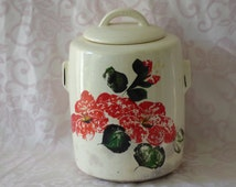 McCoy Cookie Jar - Tall Lidded Vessel - Hand Painted Ceramic - Clean Condition - Shows Age and Use - Collectible Ceramics - Practical Use