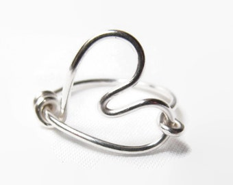 Sterling Silver Heart Ring, Heart Wire Ring, Sterling Silver Wire Ring, Size 2 3 4 5 6 7 8 9 10 11 12 13 14, Sterling Silver Thin Ring
