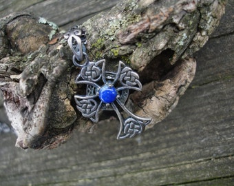Celtic cross, blue sapphire necklace, gemstone cross, oxidized silver cross necklace,September birthstone,gothic cross,blue necklace, goth