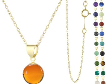 14k Solid Yellow Gold 6mm Round / Ball Natural Gemstones Pendant Necklace