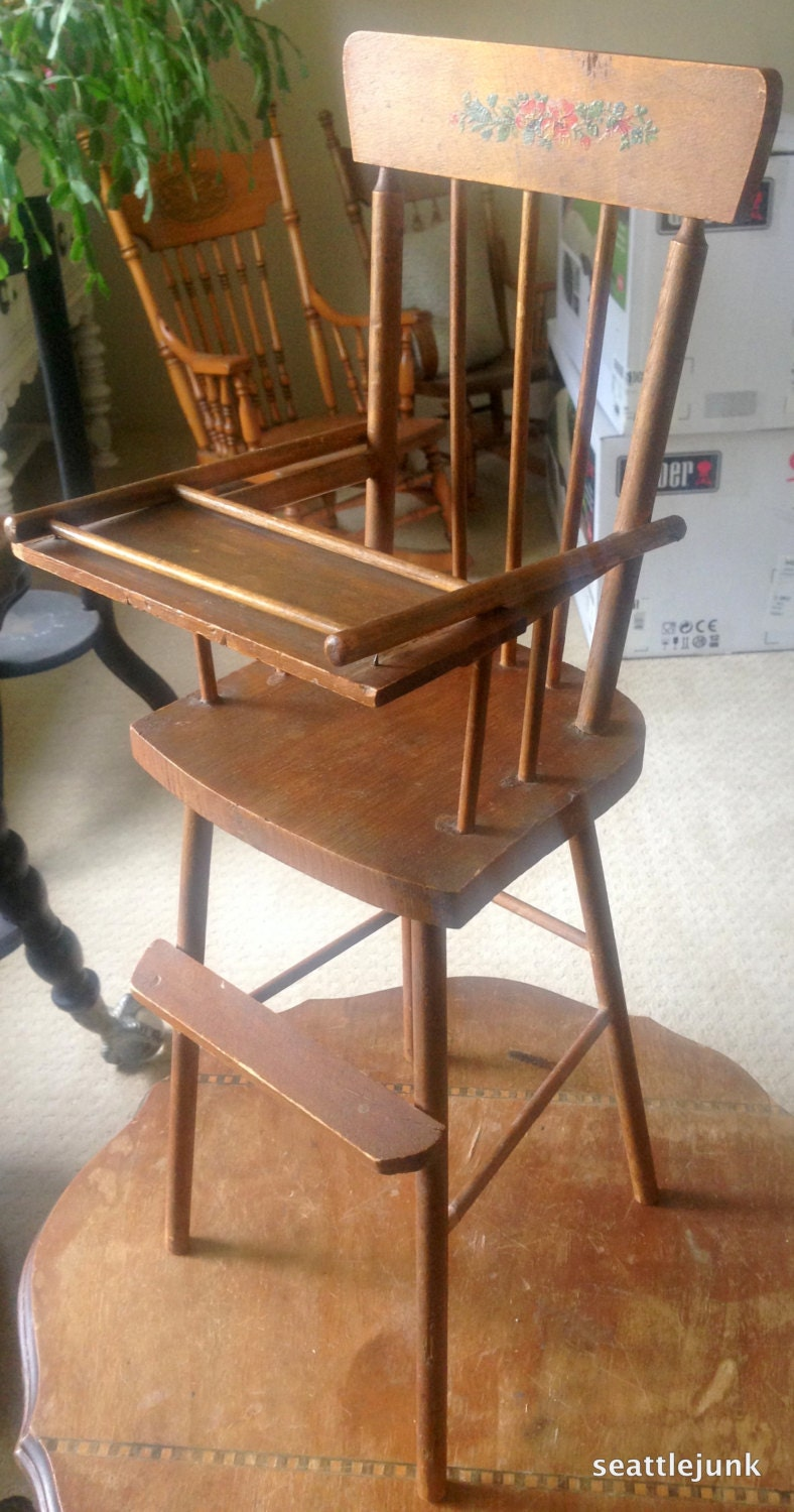 1940 39 S Vintage Wooden Baby Doll High Chair Doll Not