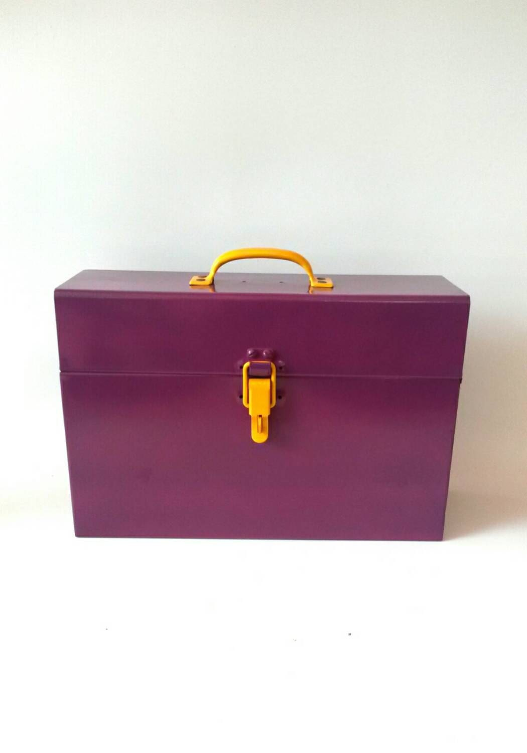 Purple Metal Tool Box Makeup Storage File By MakingMidCenturyMod