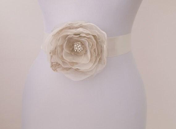 Taupe Flower Bridal Sash, Wedding Gown Sash, Bridal Gown Sash, Ivory Flower Belt, Taupe Wedding Dress Sash, Formal Dress Sash, Brown, Gray by NLcreation