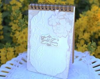 Bridal shower notebook, bridal shower thank you notepad, wedding spiral bound notebook, decorative kraft blank notebook journal