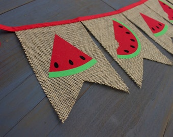 Watermelon Red Burlap Bunting Banner for Summer Party, First Birthday Party, Playroom Decor, Nursery, Baby Shower, Backyard BBQ, Photo Prop