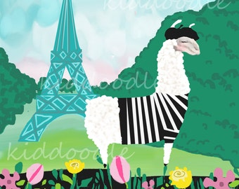 1387 Personalized Ooh La Llama art print of whimsical Llama at the Eiffel Tower in Paris for teens, children, kids room nursery wall decor