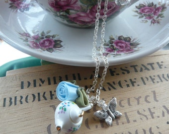 "Teapot and Butterfly Charm Pendant Necklace- 26"" Silver Plated Chain"