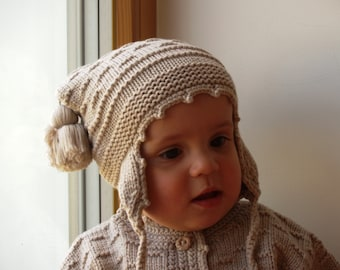 Beige knit bonnet with pom poms for bay. Merino wool earflap hat baby/ toddler. Pilot hat, hand knited. More colors. Sizes 0-24months