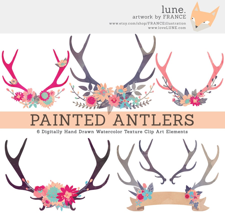 GET 3 FOR 2. Antler Clipart. Painted Watercolor Flower Clip