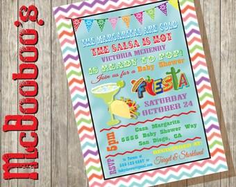 Chevron Watercolor Mexican Fiesta Baby Shower Invitations