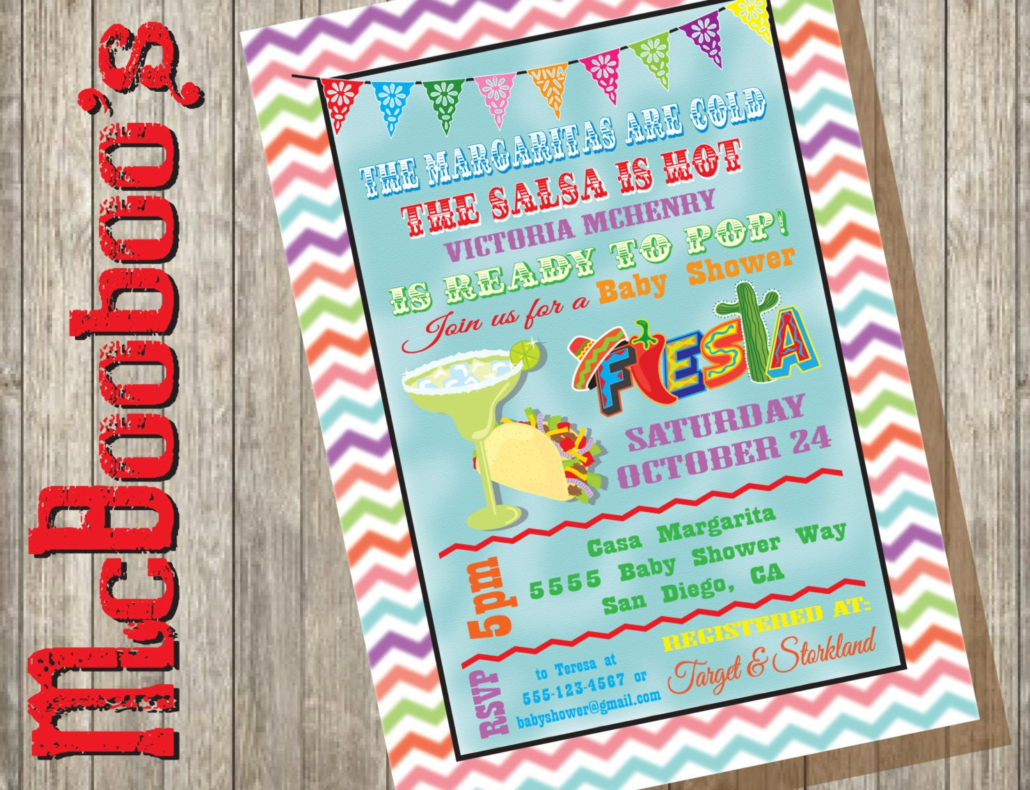 Chevron watercolor mexican fiesta baby shower invitations - Fiesta baby shower ...