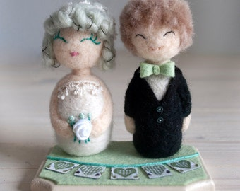 Felted Wedding Cake Topper - bride and groom