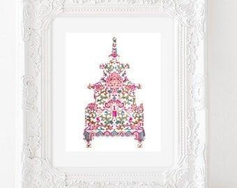 Pink Pagoda Chinoiserie Printable Art Print to Print Yourself!