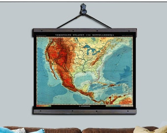 """Pull Down Map. USA 1930 Map. 36""""h x 48""""w,  School Chart, School Chart, Wall Chart, Hanging Map, Antique wall map,  Pull Down Map  USA 1930"""