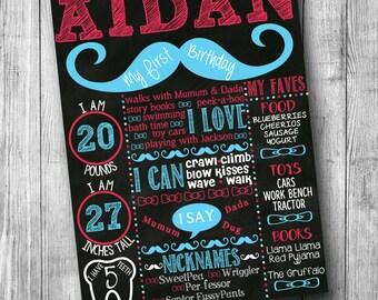 First Birthday Mustache Chalkboard Poster - Chalkboard Birthday Sign - Little Mister  Birthday Sign - Little Man 1st Birthday Chalk board
