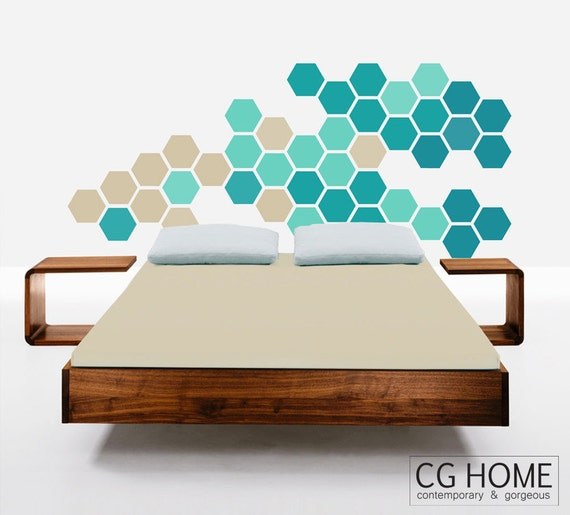 HEXAGON geometric honeycomb TURQUOISE blue beige wall decal MODERN vinyl at home