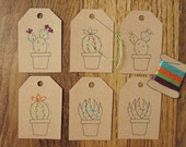 DIY cactus succulent gift tag embroidery craft kit