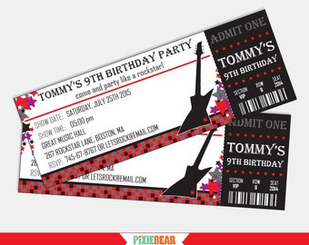 Rock Star Invitation - Rock Star Party Invitation - Rockstar Birthday Invitation - Ticket Invitation - Guitar Invitation (Instant Download)