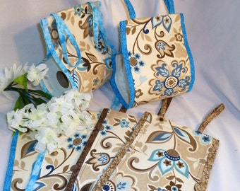 Fabric Toilet Paper Holder - Bathroom Spare Roll Cloth Toilet Paper Holder _ Handmade _ Blue Tan and Brown Floral Pattern