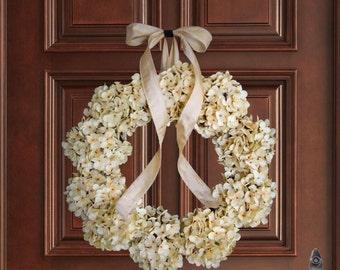 Wreath | Ivory Hydrangea Wreath | Front Door Wreaths | Summer Wreath for Front Door | Summer Wreath | Door Decor | Wedding Wreath