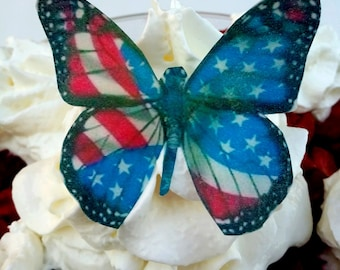 Edible Wafer Butterflies/Red, White & Blue/Cupcake Toppers/Edible Toppers