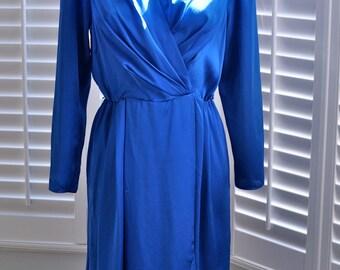 Vintage 80s Electric Blue Wrap Dress