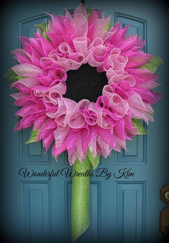 gerbera daisy wreath deco mesh flower by wonderfulwreathskim. Black Bedroom Furniture Sets. Home Design Ideas