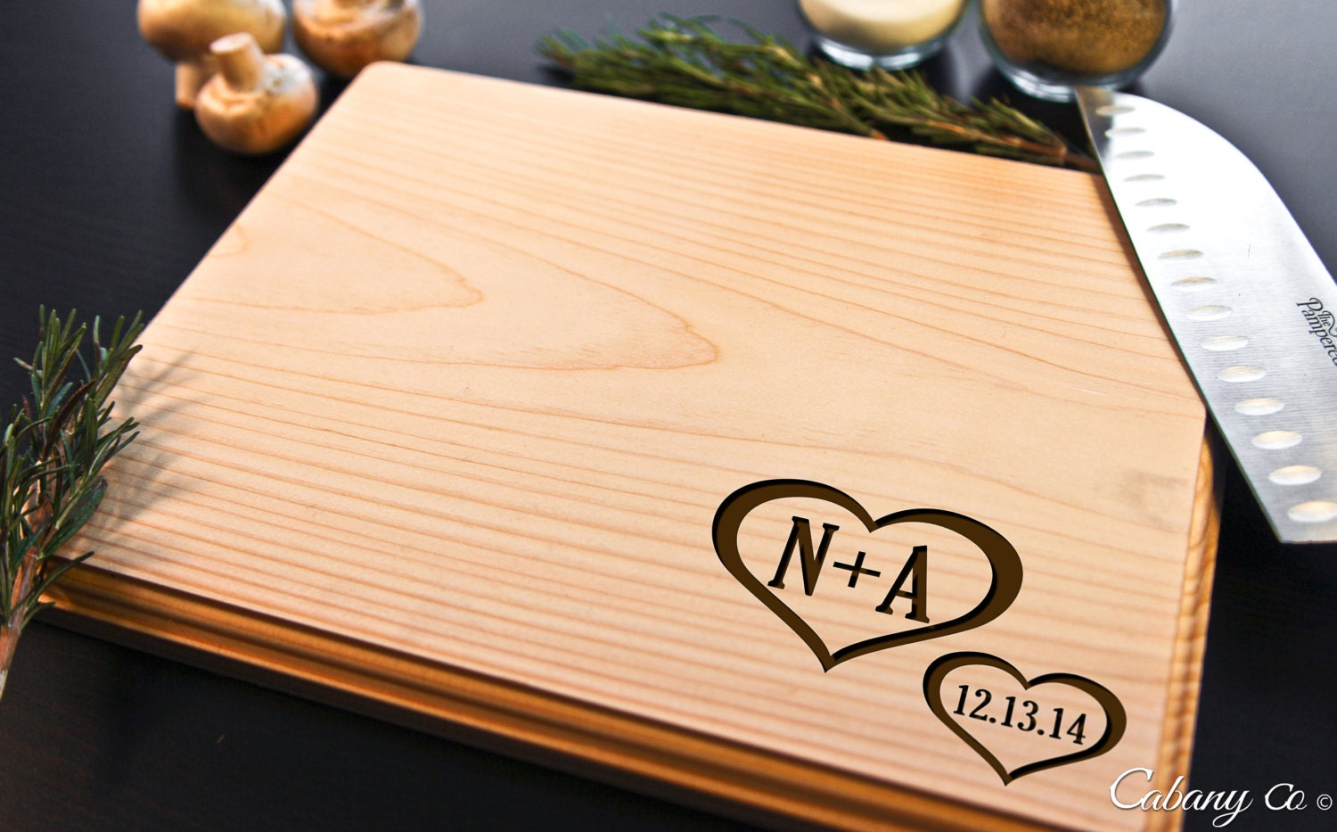 Personalized cutting board wood engraved hearts love by cabanyco - Engraved wooden chopping boards ...