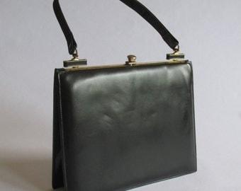 Vtg 50's / 60's Black Leather Purse Handbag | Mad Men Fashion| Gold / Brass Hardware| Art Deco, Black Purse, Top Handle Purse