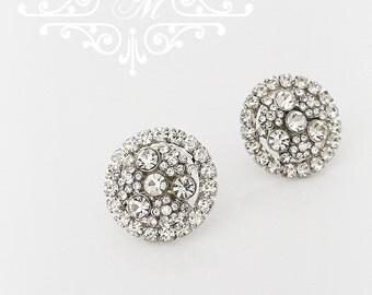 Wedding Jewelry Wedding Bridal Earrings Bridesmaids Earrings Rhinestone Earrings Wedding Earrings Stud Rhinestone Round Earrings - OLIVE
