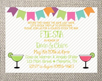 PRINTED or DIGITAL Fiesta Stock the Bar Couples Wedding Shower Birthday Invitations 5x7 Customized Margarita Mexican Fiesta Design 0.82 each