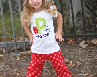 Girl Alphabet School Shirt with Polka Dot Ruffle School Pants