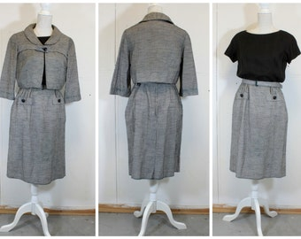 CHIC 1950's Gingham Waffel Cotton Dress and Matching Bolero - Two Piece - Mad Men - vlv  - Size M/L