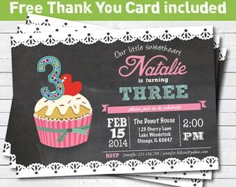 Chalkboard cupcake birthday invitation. 3rd 5th 6th birthday printable photo digital invitation. KB129