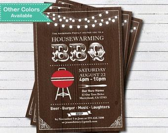 Housewarming BBQ invitation. Rustic wood or chalkboard house warming BBQ party printable digital invite . H001