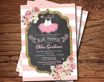 Tutu baby shower invitation. Baby girl shower invitation. Chalkboard, French coral pink white stripes, gold glitter, pink tutu invite. B133