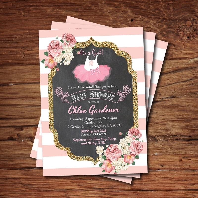 tutu baby shower invitation baby girl shower invitation