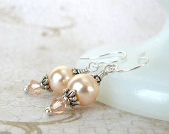 Peach Pearl Earrings, Peach Swarovski Crystal Pearl Dangles, Vintage Inspired Bridesmaid Earrings, Wedding Party Jewelry, Peach Jewelry