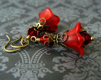 Red Flower Earrings, Vintage Inspired Crimson Lucite Flower and Crystal Dangles, Poppy Red Floral Jewelry, Romantic Fairytale Jewelry