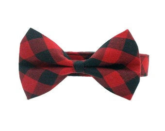 Red and Black Buffalo Check Plaid Dog Collar Bow Tie Set- Removable Bowtie OR Matching Leash