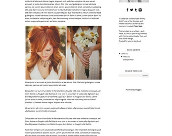"""Premade Blogger template """"Pinot noir"""", simple and elegant black and white fashion, beauty, photography lifestyle design, chic and modern"""