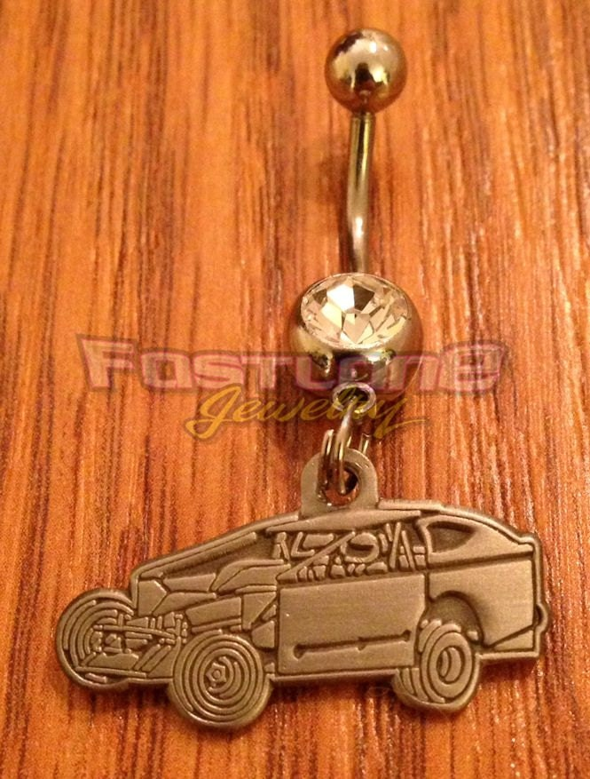 Dirt Modified Charm Belly Button / Navel Ring Racing Jewelry