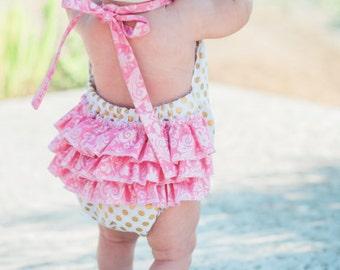 SALE! Polka & Paisley Ruffled Baby Girl Romper. Baby Girl Romper. Bubble Romper. Sun Suit.