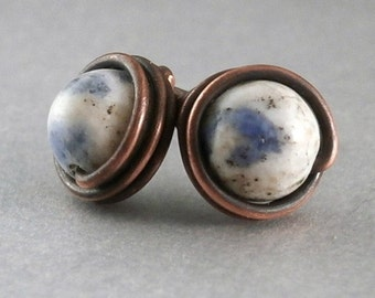 SALE Sodalite Stud Earrings Earthy Stone Jewelry Wire Wrapped Jewelry Gemstone Earring Tiny Oxidized Copper Simple Everyday Gemstone Jewelry