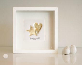 Custom Anniversary gift - Personalized Wedding gift - Picture Heart Star - Elegant Paper sculpture 3D - gold-leaf - frame - customized