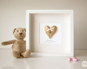 Custom Gift Boy Girl - Birth personalized gift - Art Frame Heart pendant Bear - 3D paper - gold leaf - frame with glass